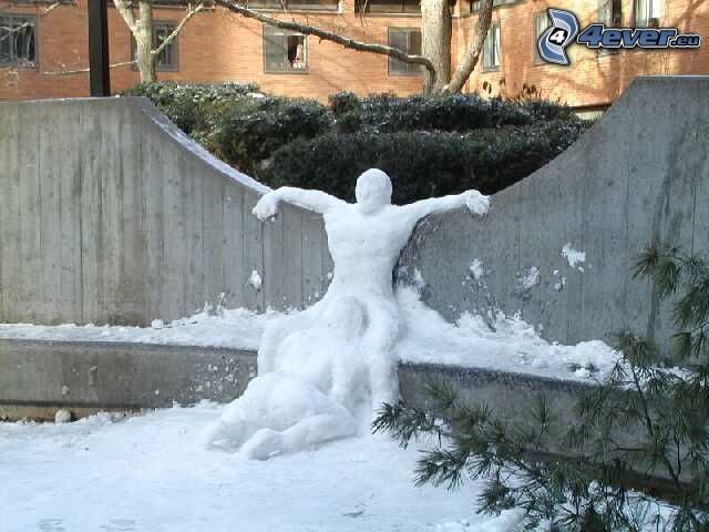 ľudia zo snehu, sex, zima, sneh
