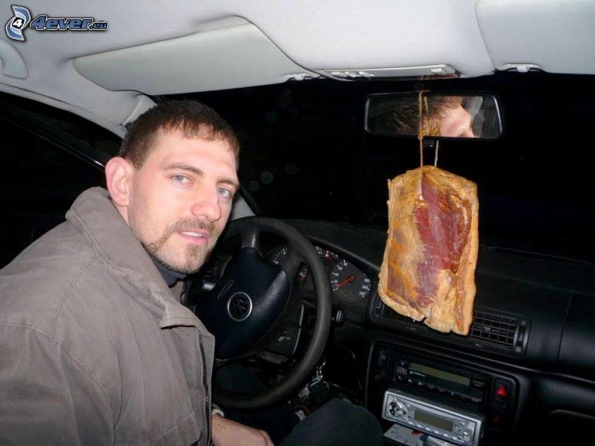 vôňa, slanina, auto