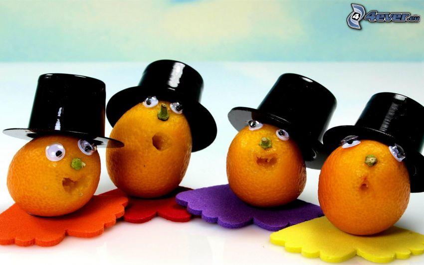 mandarinky, klobúky, oči