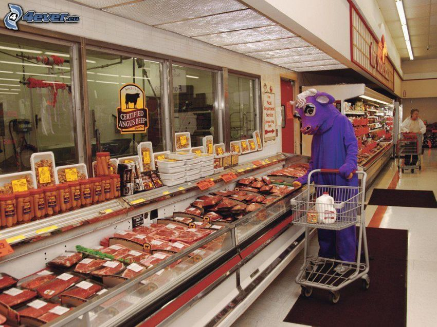 obchod, krava, kostým, mäso