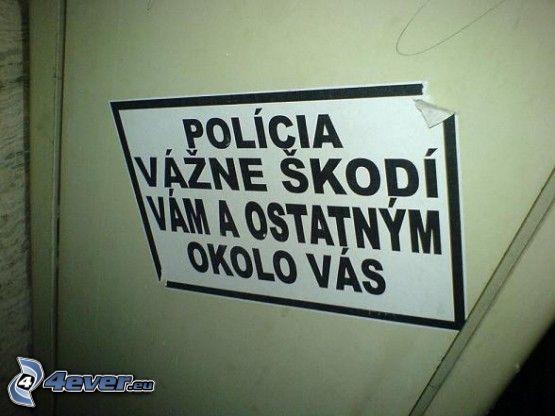 polícia, dvere, varovanie, výstraha