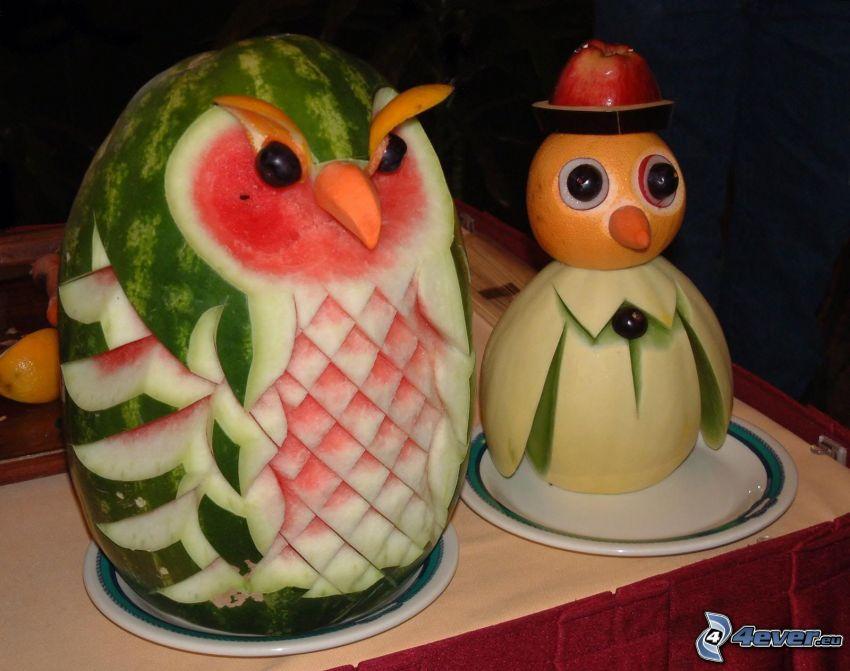 postavičky, sova, ovocie, zelenina, melón