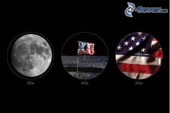 Mesiac, vlajka USA, made in China