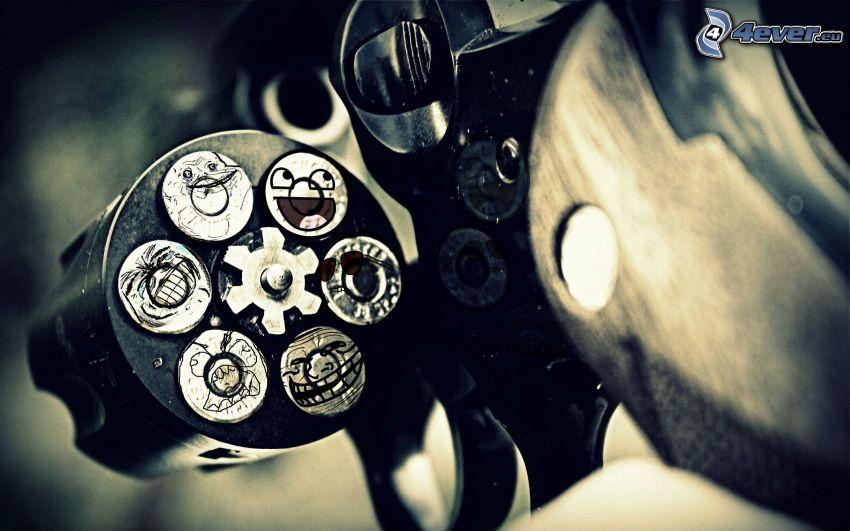 náboje, smajlíky, meme, revolver