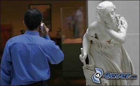 načúvanie, socha, chlap