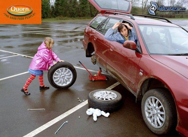 oprava, dievčatko, koleso, auto, parkovisko