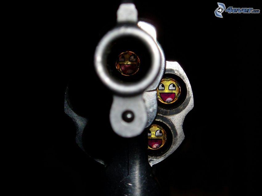 revolver, náboje, smajlíky