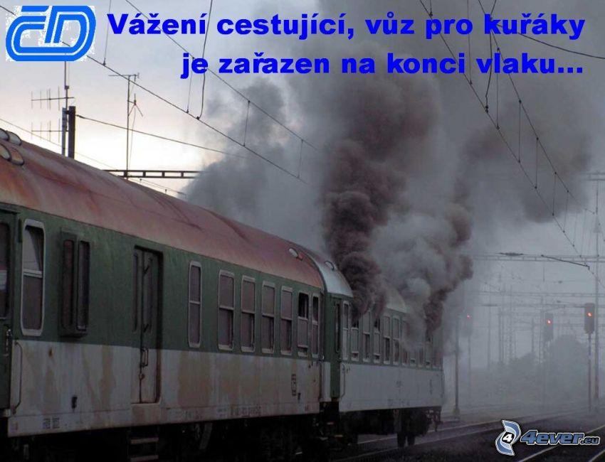 vagón, dym, vlak, fajčiar