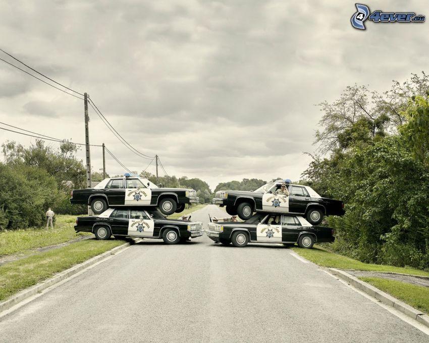 zátarasy, polícia, rovná cesta
