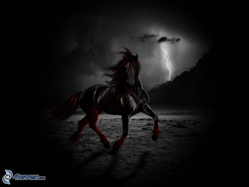 vraný kôň, cval, blesk, digital art