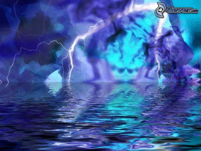 lightning, water