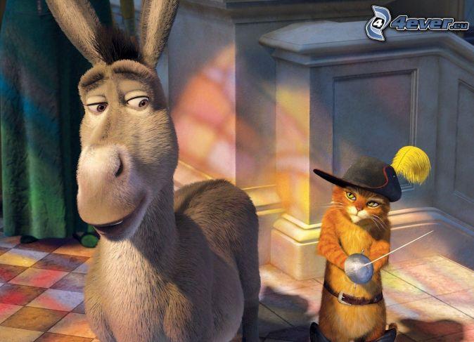 Shrek, donkey, Puss in Boots