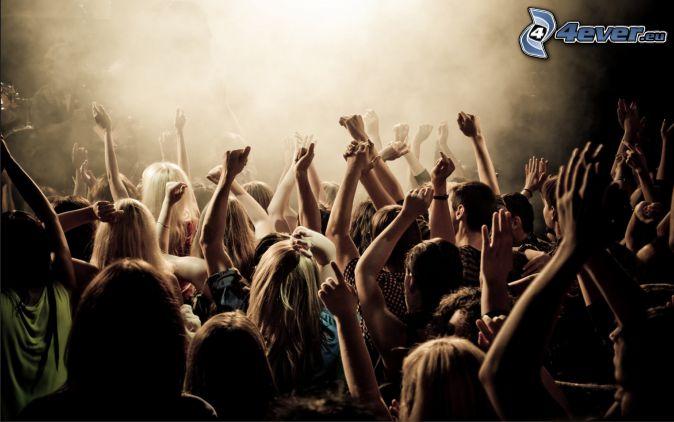 concert, crowd, fans, hands