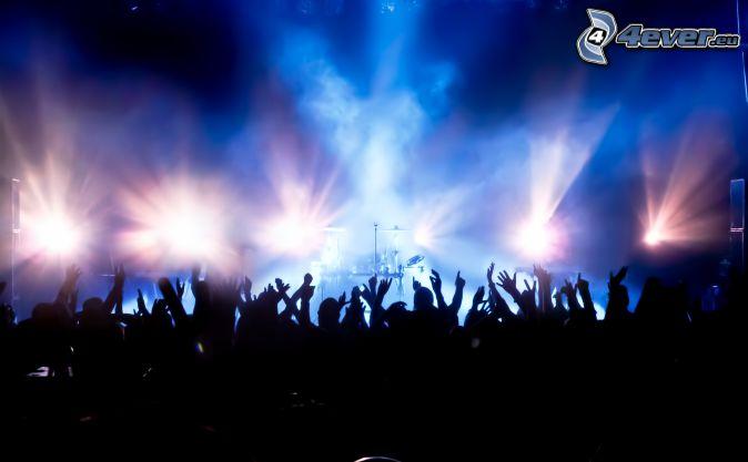 concert, crowd, hands