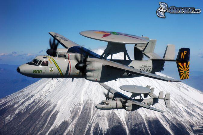 Grumman E-2 Hawkeye, snowy hill