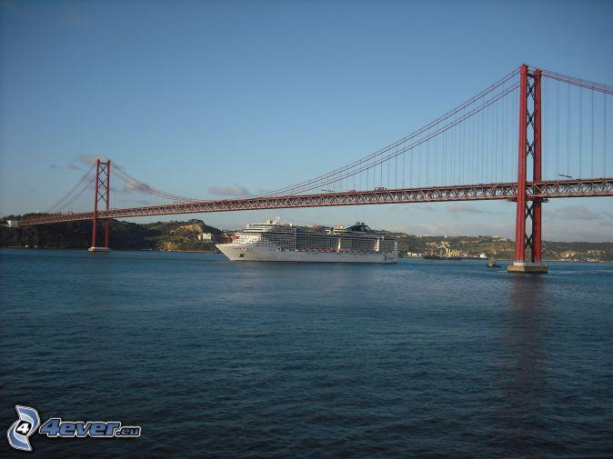25 de Abril Bridge, luxury ship