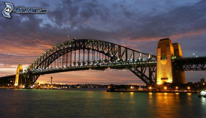 Auckland Harbour Bridge, lighted bridge, evening