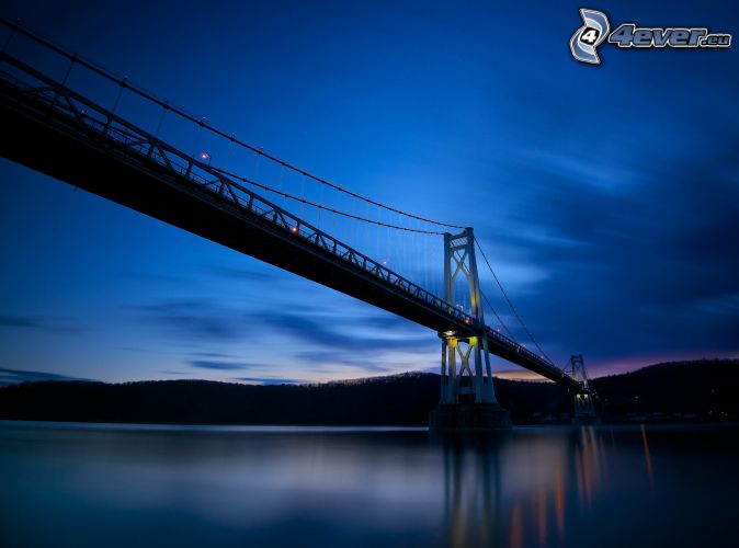 Mid-Hudson Bridge, evening, after sunset, blue sky