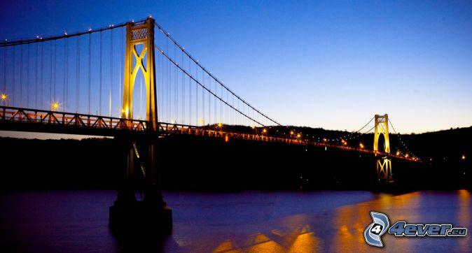 Mid-Hudson Bridge, lighted bridge, after sunset