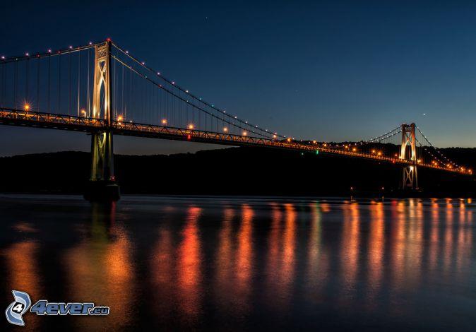 Mid-Hudson Bridge, lighted bridge, night, darkness