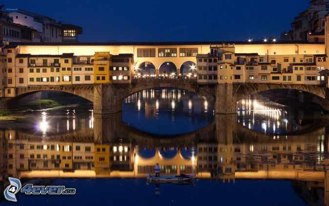 Ponte Vecchio, Florence, night, lighted bridge, Arno, River, bridge