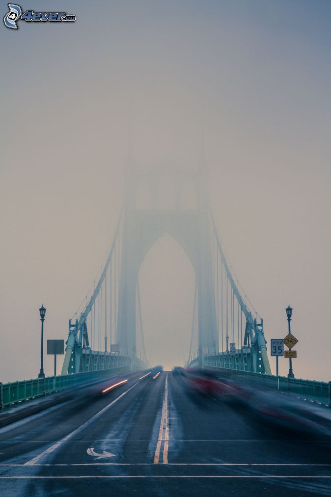 St. Johns Bridge, fog, speed
