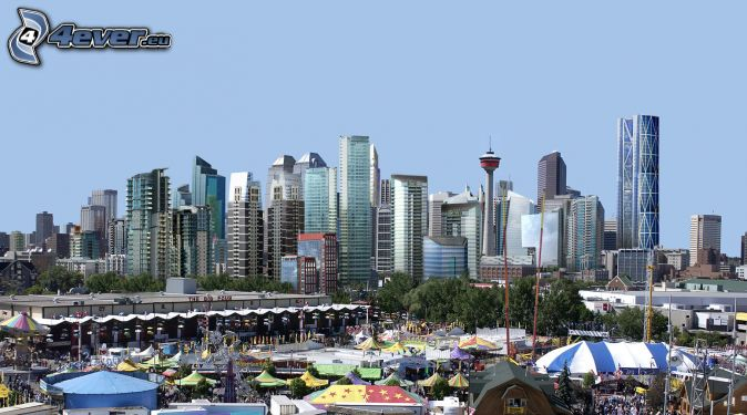 Calgary, skyscrapers, market