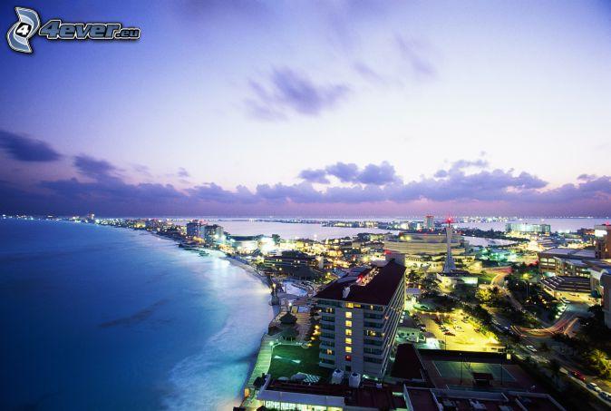 Cancún, seaside town, sea, evening