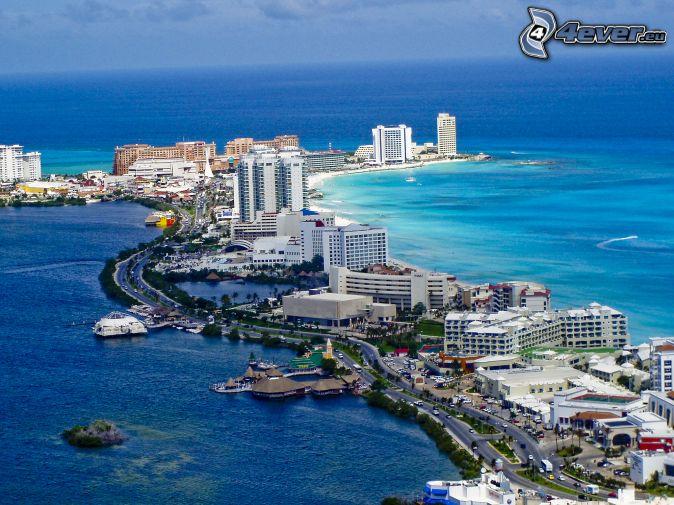 Cancún, seaside town, skyscrapers, open sea