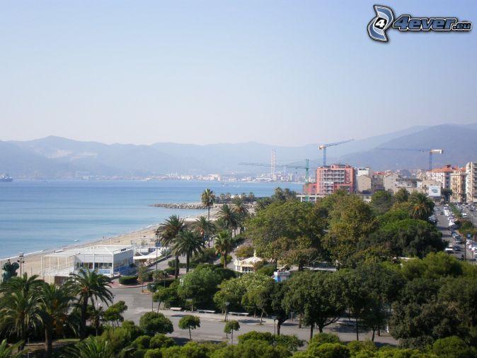 city, trees, beach, sea, mountains