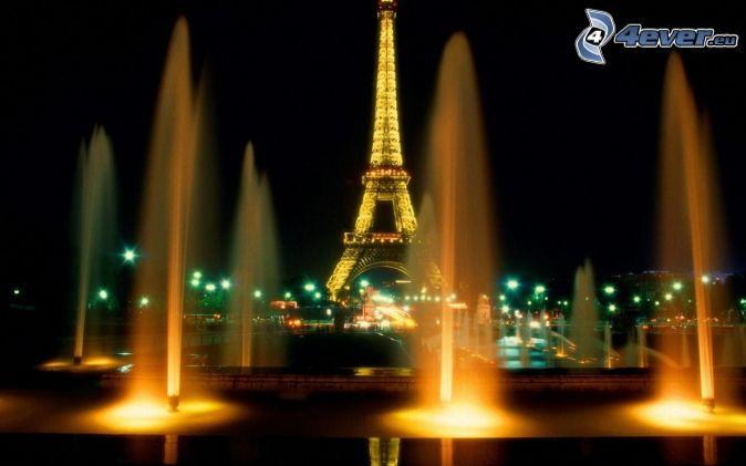 Eiffel Tower at night, Paris, fountain