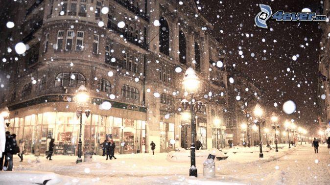 evening city, snowy street, street lights, snowfall