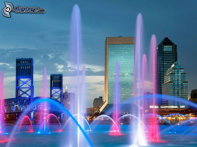 Jacksonville, fountain, skyscrapers