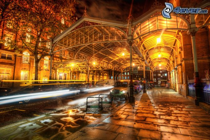 street, sidewalk, night city, London, HDR