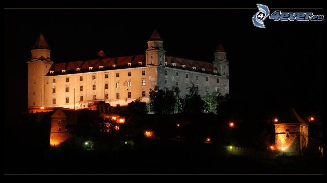 Bratislava Castle, night, lights, Slovakia