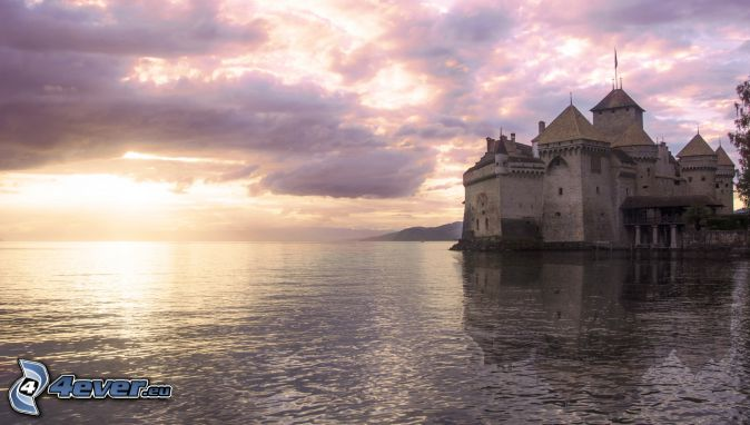 Chillon Castle, sunset over the sea