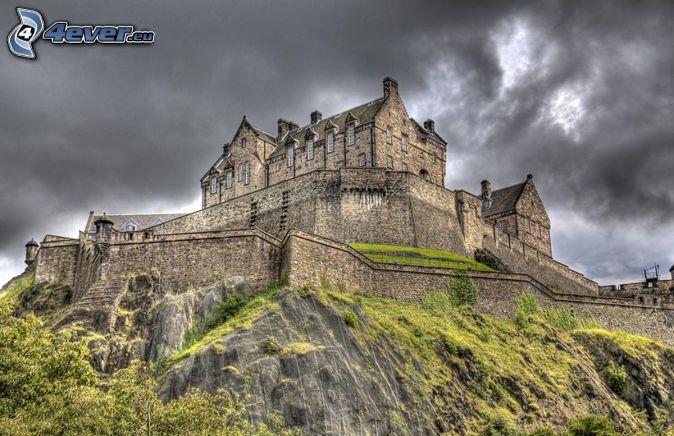 Edinburgh Castle, dark clouds, HDR