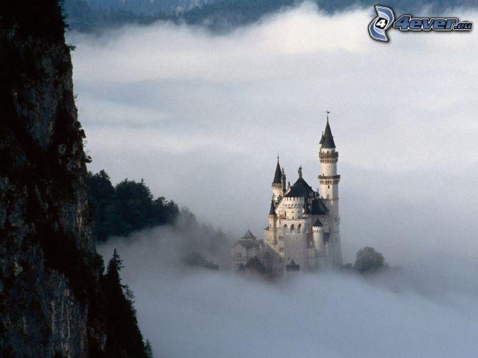 Neuschwanstein in the fog, castle, Germany