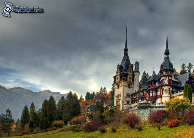 Peles Castle, forest, mountain, dark clouds