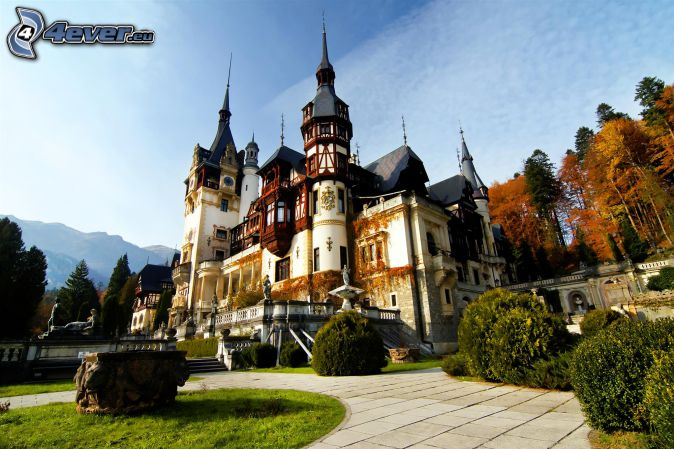 Peles Castle, sidewalk, autumn trees