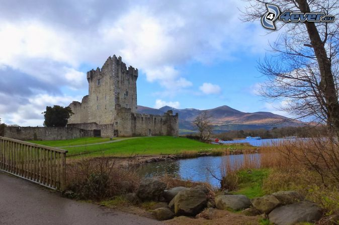 Ross Castle, mountain, River