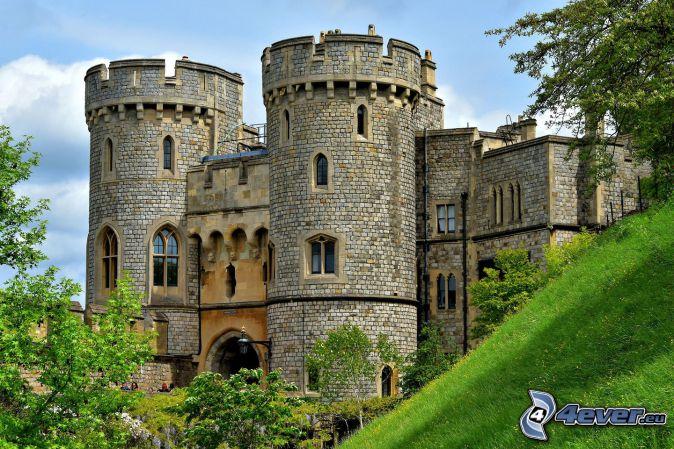 Windsor Castle, grass, green trees