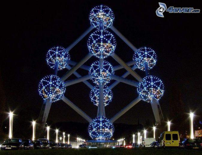 Atomium, Brussels, night city