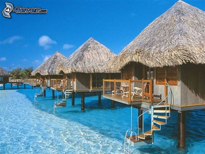 seaside bungalows on Bora Bora, sea, water, vacation