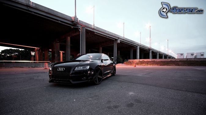Audi S6, bridge, street lights