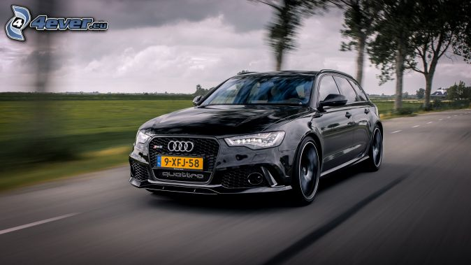 Audi S6, speed, road, avenue of trees