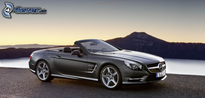 Mercedes SL, convertible, lake, hill