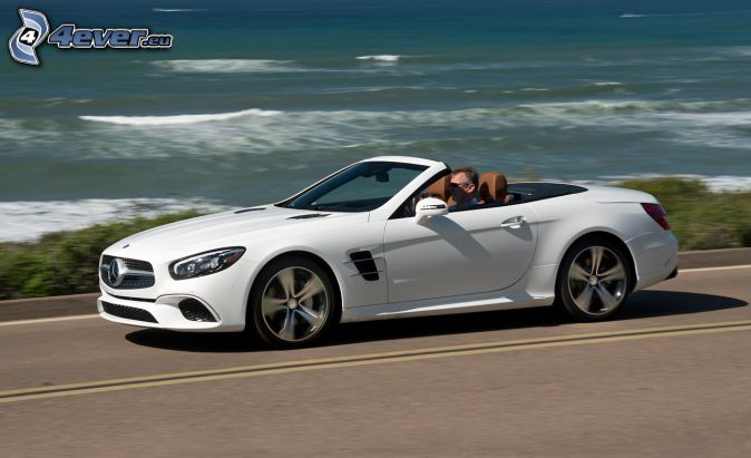 Mercedes SL, convertible, open sea, speed