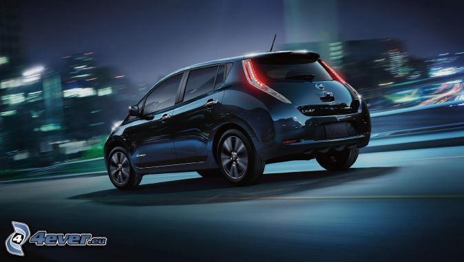 Nissan Leaf, night city, speed