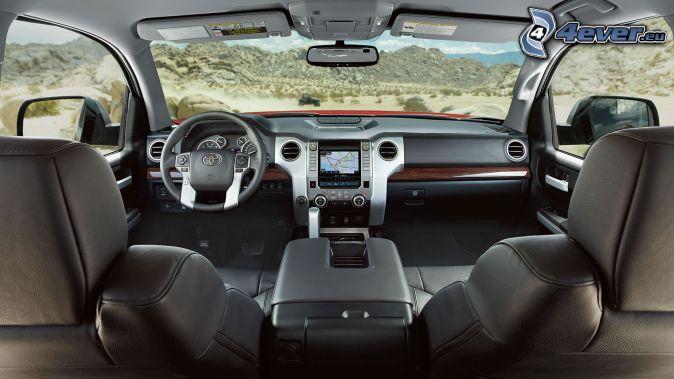 Toyota Tundra, interior, dashboard, steering wheel, mountain